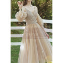 Champagne Short Princess Gown With removable Bishop Sleeves - Ref L1219 - 04