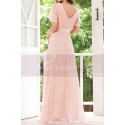 Floor Length Pink Bridesmaid Dresses With Draped V Neckline And Sleeves - Ref L1220 - 02