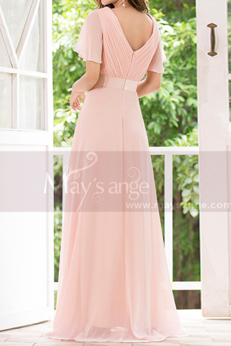 Floor Length Pink Bridesmaid Dresses With Draped V Neckline And Sleeves - Ref L1220 - 01