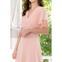 Floor Length Pink Bridesmaid Dresses With Draped V Neckline And Sleeves - Ref L1220 - 03