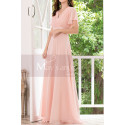 Floor Length Pink Bridesmaid Dresses With Draped V Neckline And Sleeves - Ref L1220 - 04