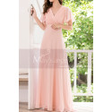 Floor Length Pink Bridesmaid Dresses With Draped V Neckline And Sleeves - Ref L1220 - 05