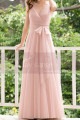 Pink Tulle Floor Length Party dresses With Bow Belt - Ref L1221 - 04