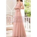 Pink Tulle Floor Length Party dresses With Bow Belt - Ref L1221 - 05