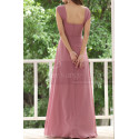 Pink Chiffon Maxi Dress For Bridesmaids With Floral Draped Top - Ref L1222 - 02