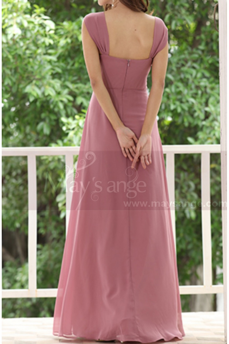 Pink Chiffon Maxi Dress For Bridesmaids With Floral Draped Top - Ref L1222 - 01