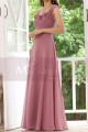 Pink Chiffon Maxi Dress For Bridesmaids With Floral Draped Top - Ref L1222 - 03