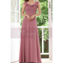 Pink Chiffon Maxi Dress For Bridesmaids With Floral Draped Top - Ref L1222 - 04