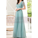 Tulle Blue Long Cocktail Dresses Evening Wear With Sleeves - Ref L1223 - 02
