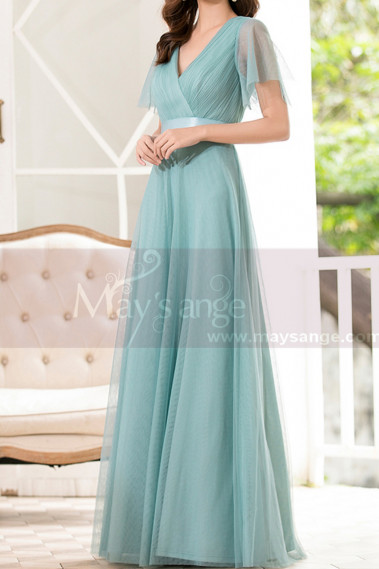 Tulle Blue Long Cocktail Dresses Evening Wear With Sleeves - L1223 #1