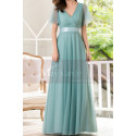 Tulle Blue Long Cocktail Dresses Evening Wear With Sleeves - Ref L1223 - 03