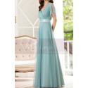 Tulle Blue Long Cocktail Dresses Evening Wear With Sleeves - Ref L1223 - 05