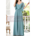 Straps Chiffon Sky Blue Maxi Dress With Straps With Sleeves - Ref L1225 - 02