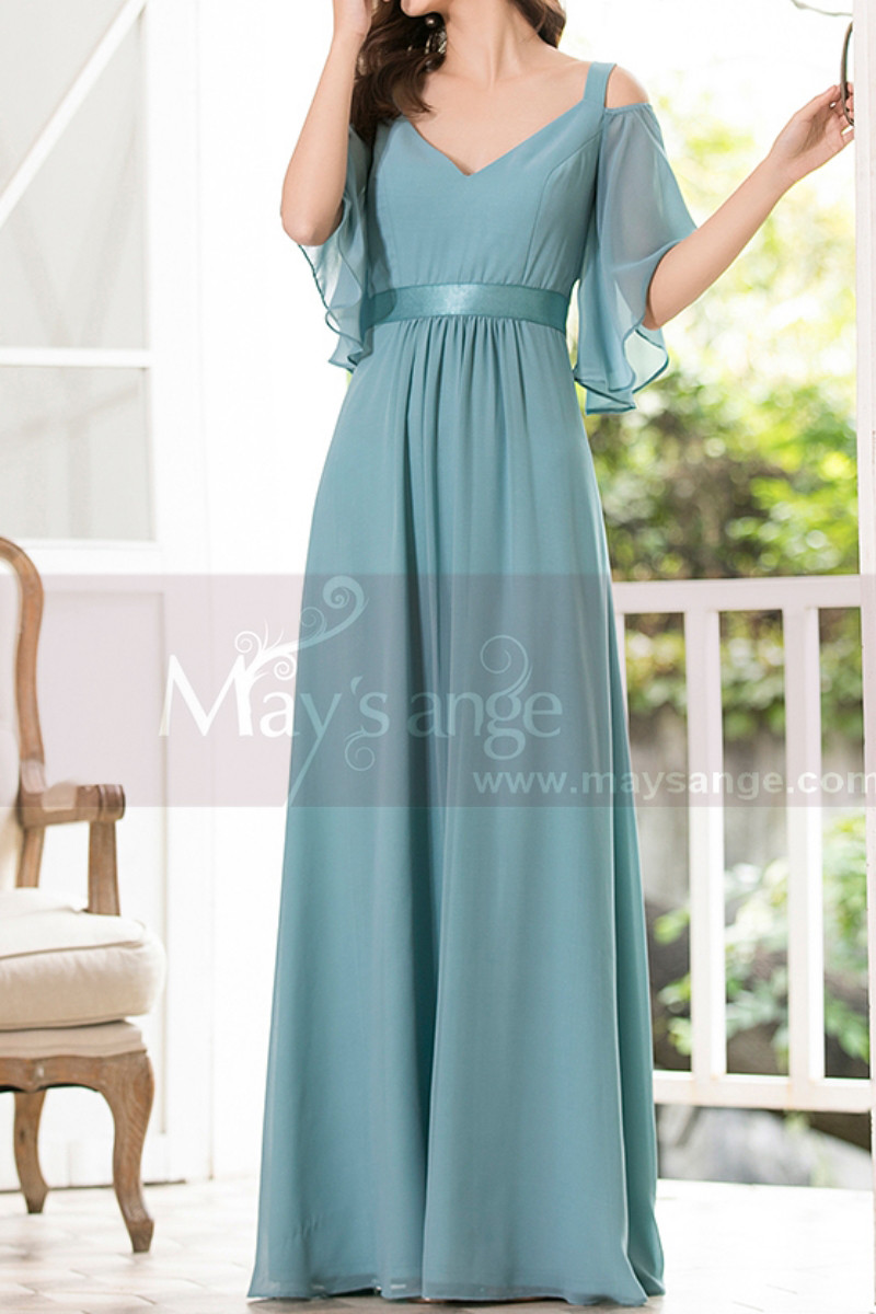 Straps Chiffon Sky Blue Maxi Dress With Straps With Sleeves - Ref L1225 - 01