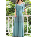 Straps Chiffon Sky Blue Maxi Dress With Straps With Sleeves - Ref L1225 - 03