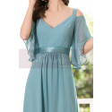 Straps Chiffon Sky Blue Maxi Dress With Straps With Sleeves - Ref L1225 - 04