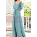 Straps Chiffon Sky Blue Maxi Dress With Straps With Sleeves - Ref L1225 - 05