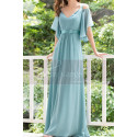 Straps Chiffon Sky Blue Maxi Dress With Straps With Sleeves - Ref L1225 - 06