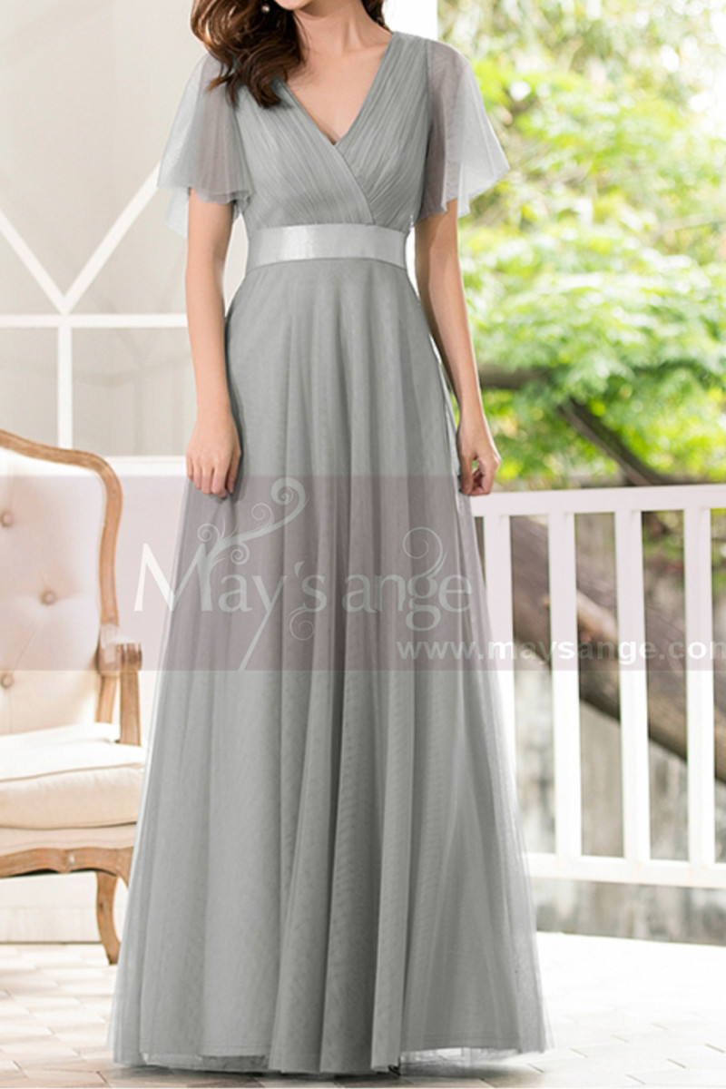 Formal Evening Gowns With Transparency Short Sleeves And Satin Belt - Ref L1227 - 01