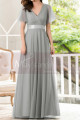 Formal Evening Gowns With Transparency Short Sleeves And Satin Belt - Ref L1227 - 02