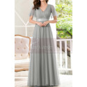 Formal Evening Gowns With Transparency Short Sleeves And Satin Belt - Ref L1227 - 04