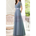Floor-Length A-Line Blue Prom Dresses For Mother Of The Bride - Ref L1228 - 02