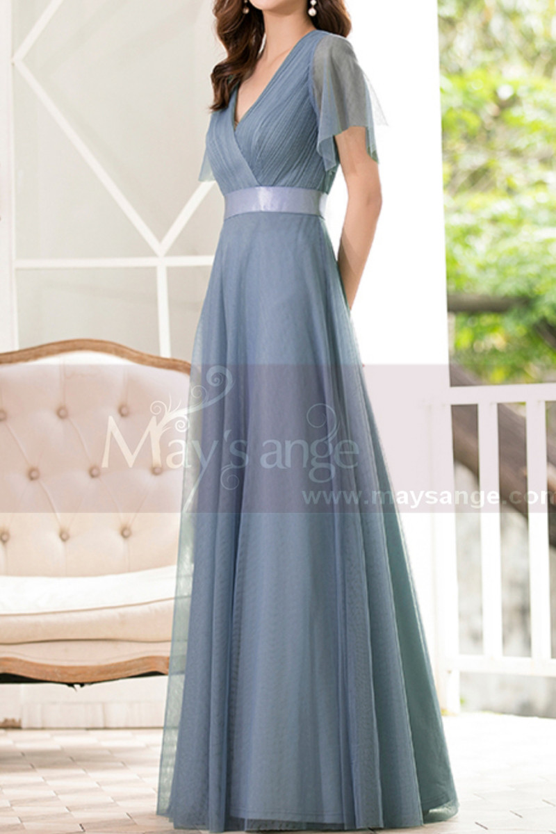 Floor-Length A-Line Blue Prom Dresses For Mother Of The Bride - Ref L1228 - 01