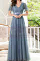 Floor-Length A-Line Blue Prom Dresses For Mother Of The Bride - Ref L1228 - 03