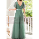 Green Gown Summer Wedding Guest Dresses In Tulle With V Neckline - Ref L1229 - 02