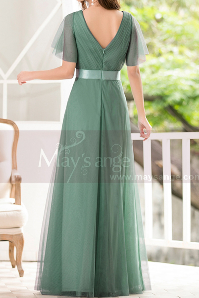 Green Gown Summer Wedding Guest Dresses In Tulle With V Neckline - Ref L1229 - 01