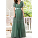 Green Gown Summer Wedding Guest Dresses In Tulle With V Neckline - Ref L1229 - 03