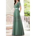 Green Gown Summer Wedding Guest Dresses In Tulle With V Neckline - Ref L1229 - 04