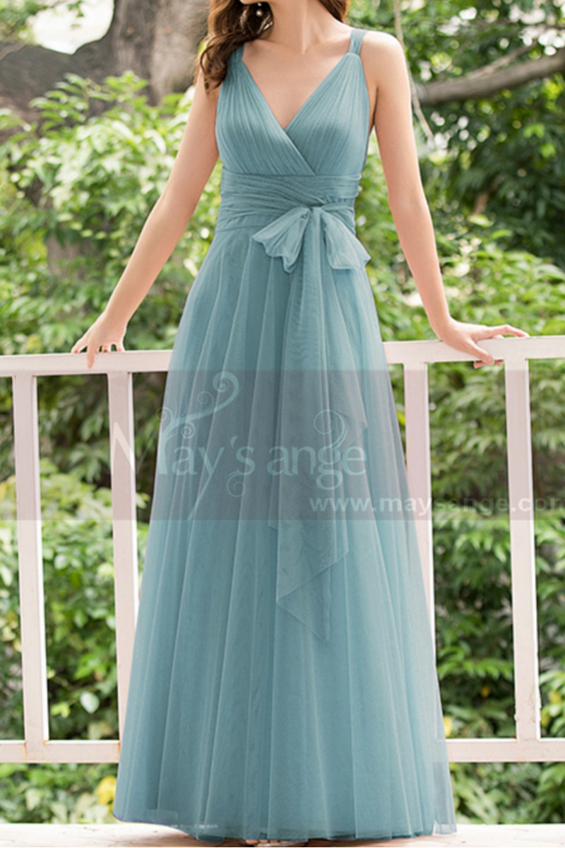 Dusty Blue Bridesmaid Dresses Floor Length Without Sleeves - Ref L1230 - 01