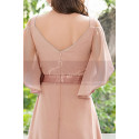 Long Chiffon Elegant Pink Dresses For Wedding Guests With Ruffle Sleeves - Ref L1232 - 02