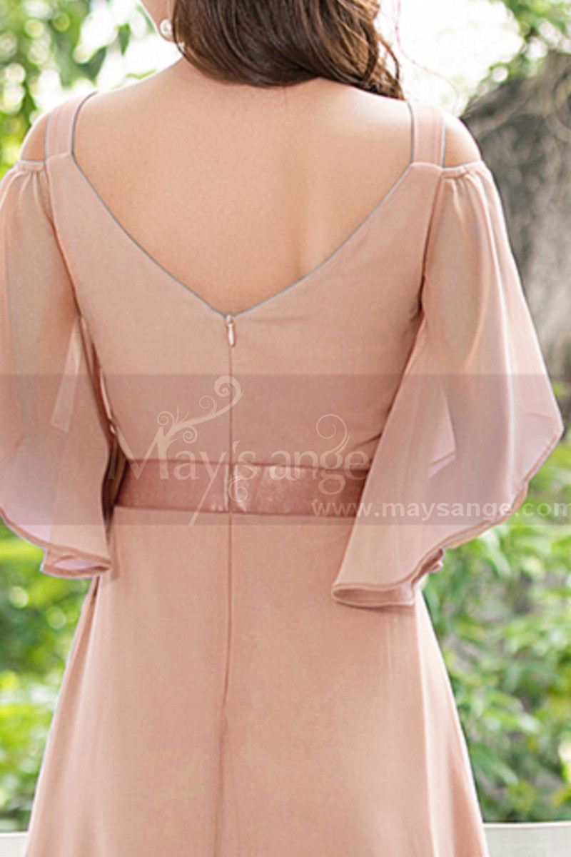 Long Chiffon Elegant Pink Dresses For Wedding Guests With Ruffle Sleeves - Ref L1232 - 01