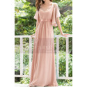 Long Chiffon Elegant Pink Dresses For Wedding Guests With Ruffle Sleeves - Ref L1232 - 03