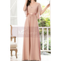 Long Chiffon Elegant Pink Dresses For Wedding Guests With Ruffle Sleeves - Ref L1232 - 04
