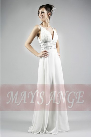 Evening Dress with straps - Long evening white dress Aphrodite - L029 #1