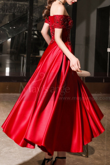 Sexy cocktail dress - Embroidered And Sparkly Tea Length Elegant Red Dress for Bridesmaid - C1944 #1