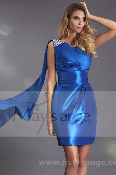 Straight cocktail dress - Short Royal Blue Party Dress In Taffeta - C173 #1