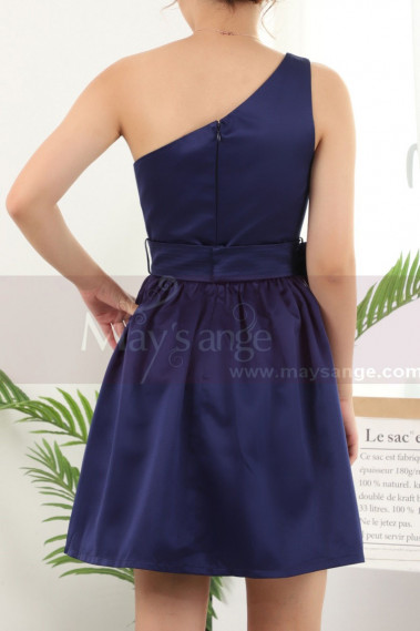 Blue cocktail dress - One Shoulder Short Blue Birthday Dresses With Bow Belt - C911 #1