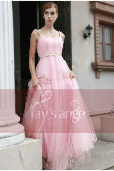 Evening Dress with straps - Pink Classic Ball Gown With Rhinestones For Ballet Dancer - PR027 #1
