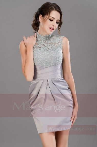 Silver cocktail dress - Short A-Line Silver dress Graduation Party Dress With Lace Top - C014 #1