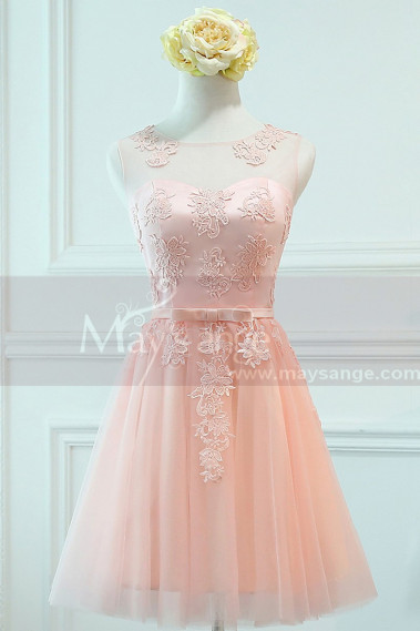 Robe de cocktail rose - robe cocktail rose bonbon dentelle  courte - C958 #1