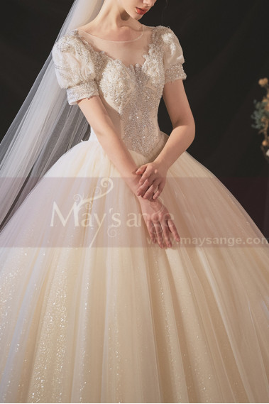 Bouffant wedding dress - copy of Top Lace White Simple Wedding Gown With Thin Strap - M1250 #1