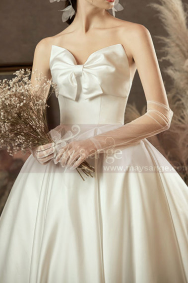 Beautiful White Satin Wedding Dress Romantic Strapless Knot - M1253 #1