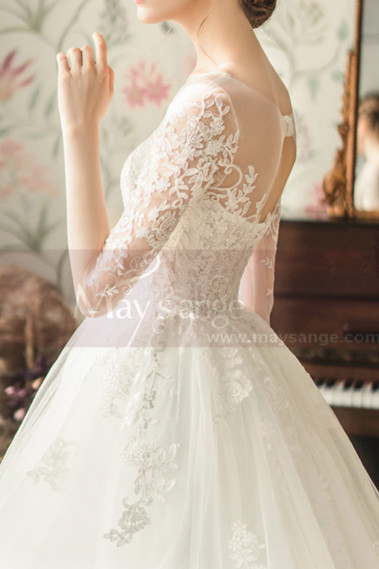Elegant Long Sleeve White Illusion Neckline Wedding Dress - M1254 #1
