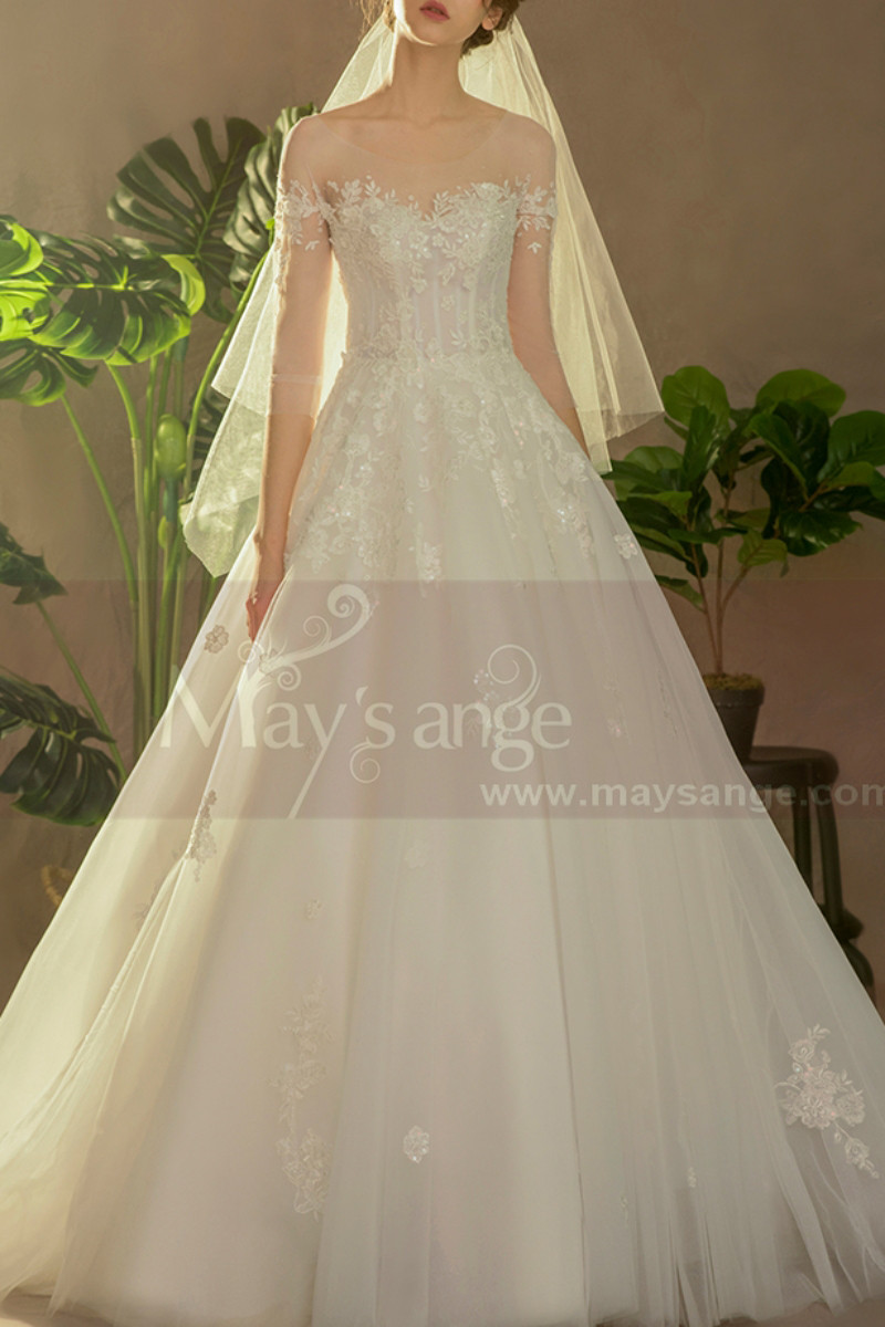 Illusion Bodice A-Line Country Style Wedding Dresses Tulle - Ref M1258 - 01