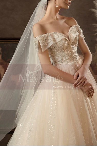 Floor Lenght Champagne Color Wedding Dress Sparkling Bodice - M1259 #1