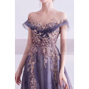copy of Silver Gray Tulle Vintage Princess Prom Dress With Neck Tie - Ref L2020 - 03
